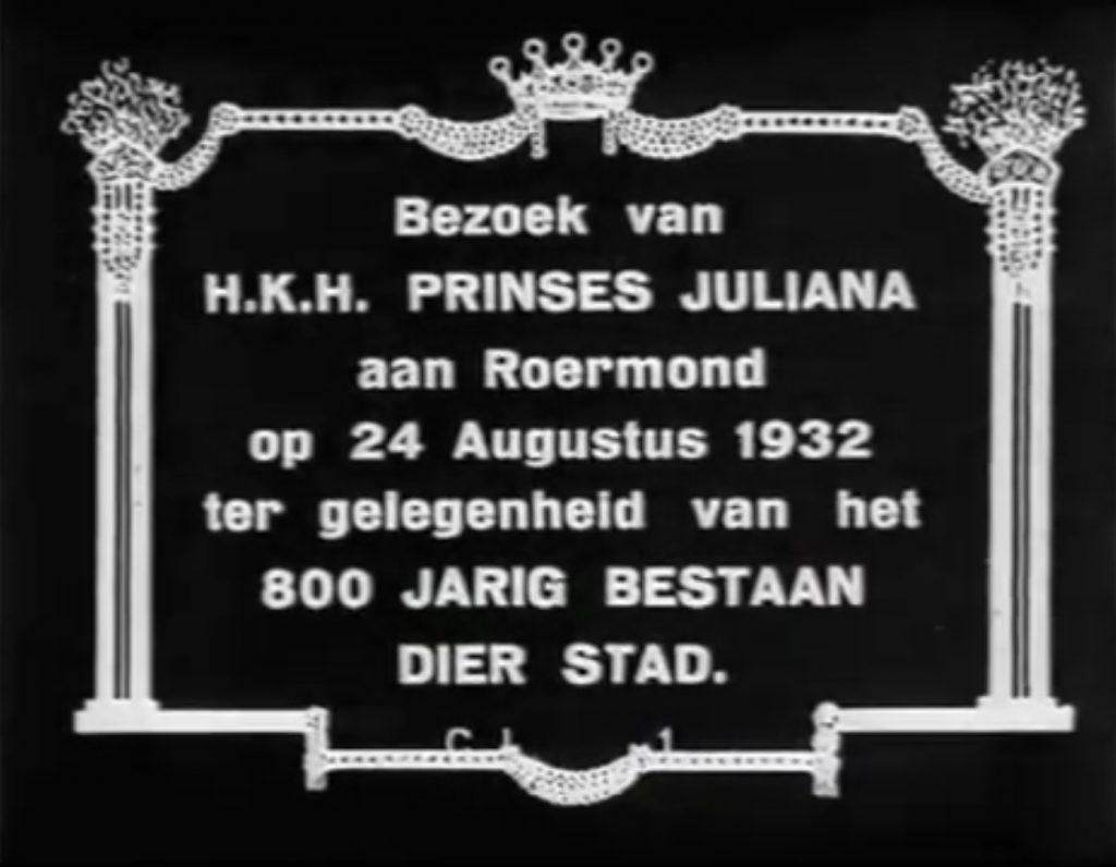 Bezoek Prinses Juliana aan Roermond in 1932