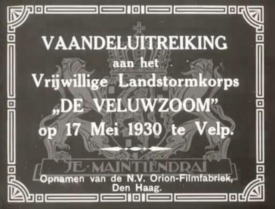 Vaandeluitreiking Landstormkorps Veluwzoom – 1930